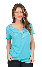 Cowgirl Hardware Women's Turquoise with Studded Deer Skull Cap Sleeve Casual Knit Shirt
