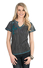 Cowgirl Hardware Women's Charcoal with Turquoise Contrast Stitching and Right Chest Cross Cap Sleeve Casual Knit Top