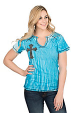 Cowgirl Hardware Women's Turquoise Tie Dye with Black Cross Patch Cap Sleeve Casual Knit Top