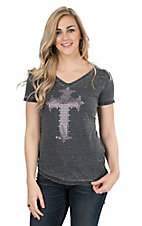 Cowgirl Hardware Women's Charcoal with Purple and Silver Studded Cross Cap Sleeve Casual Knit Shirt