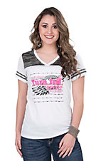Cowgirl Hardware Women's White with Pink and Black Turn it Burn it Screen Print Cap Sleeve Casual Knit Top