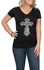 Cowgirl Hardware Women's Black with White Embellished Steel Cross S/S Casual Knit Shirt