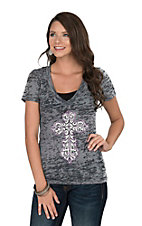 Cowgirl Hardware Women's Grey with Studded Cross Casual Knit Shirt