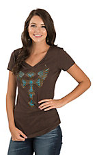 Cowgirl Hardware Women's Brown Studded Winged Cross V-Neck Casual Knit Shirt