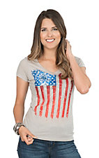 Cowgirl Hardware Women's Grey with Flag Casual Knit Shirt