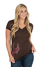 Cowgirl Hardware Women's Brown with Pink Horseshoe Scroll Casual Knit Shirt