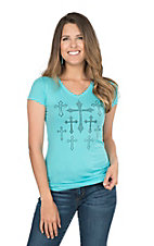 Cowgirl Hardware Women's Turquiose with All Over Crosses Short Sleeve Casual Knit Shirt