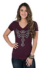Cowgirl Hardware Women's Maroon with Studded Winged Cross Cap Sleeve Casual Knit Shirt