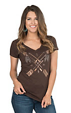 Cowgirl Hardware Women's Brown with Rhinestone Crossed Arrows Short Sleeve Casual Knit Shirt