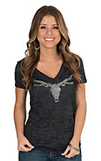 Cowgirl Hardware Women's Charcoal with Studded Deer Skull Cap Sleeve Burnout Casual Knit Shirt