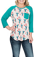 Cowgirl Hardware Women's Teal Floral Cactus Raglan Casual Knit Shirt