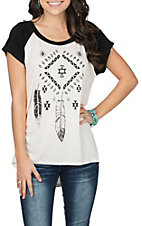 Cowgirl Hardware Women's Black and White Aztec Feathers Raglan Casual Knit Shirt