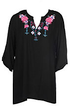 Cowgirl Hardware Women's Black Aztec Floral Tunic Fashion Shirt - Plus Size