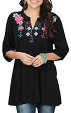 Cowgirl Hardware Women's Black Aztec Floral Tunic Fashion Shirt