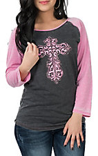 Cowgirl Hardware Women's Black and Pink Steel Cross Raglan L/S Casual Knit Shirt