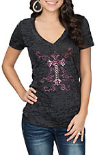 Cowgirl Hardware Women's Black Burnout w/ Pink Crystal Cross S/S Casual Knit Shirt