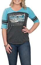 Cowgirl Hardware Women's Turquoise and Grey Rodeo Graphic 3/4 Sleeve Casual Knit Shirt