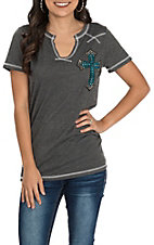 Cowgirl Hardware Women's Grey with Studded Cross Patch Short Sleeve Casual Knit Tee