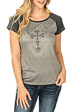 Cowgirl Hardware Women's Grey Decorative Cross w/ Wings S/S Casual Knit Shirt