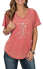 Cowgirl Hardware Women's Rust Scroll Cross Short Sleeve Casual Knit Shirt