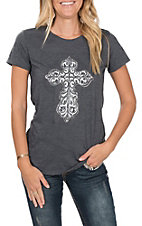 Cowgirl Hardware Women's Steel Cross Short Sleeve T-Shirt