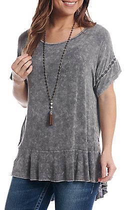 Cowgirl Hardware Women's Light Grey High Low Ruffle Short Sleeve Fashion Top