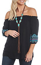 Cowgirl Hardware Women's Black Aztec Off the Shoulder Blouse