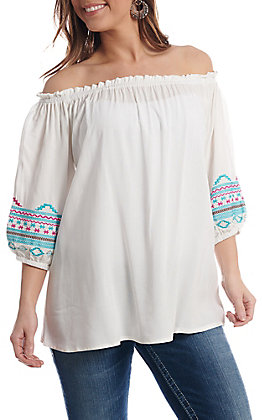 Cowgirl Hardware Women's White Aztec Off the Shoulder Fashion Top