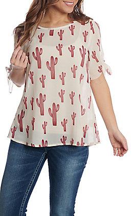 Cowgirl Hardware Women's Allover Saguaro Short Sleeve Fashion Top