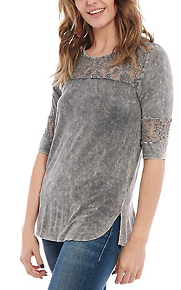 Cowgirl Hardware Women's Elbow Length Lacy Fashion Top