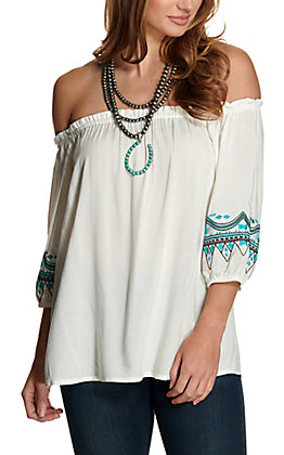 Cowgirl Hardware White with Turquoise Embroidery Off the Shoulder 3/4 Sleeves Fashion Top