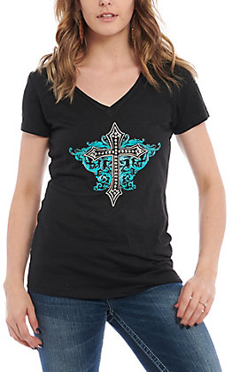 Cowgirl Hardware Black Blooming Cross Short Sleeve Casual Knit Top