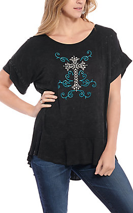 Cowgirl Hardware Women's Black with Turquoise Studded Cross Short Sleeve Fashion Knit Tunic Top