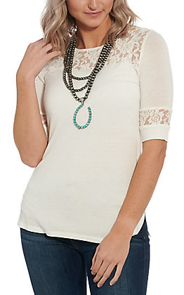 Cowgirl Hardware Women's White Lace Fashion Top