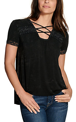 Cowgirl Hardware Women's Washed Black with Lace Criss Cross Short Sleeve Casual Knit Top