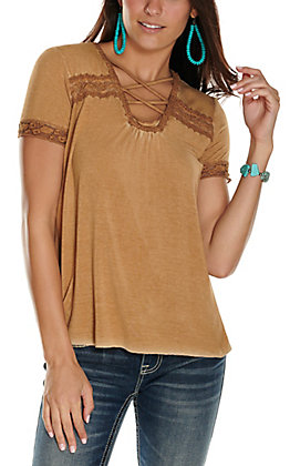 Cowgirl Hardware Women's Washed Brown Criss Cross Short Sleeve T-Shirt