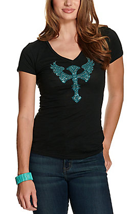 Cowgirl Hardware Women's Black with Turquoise Rhinestud Winged Cross Short Sleeve Casual Tee