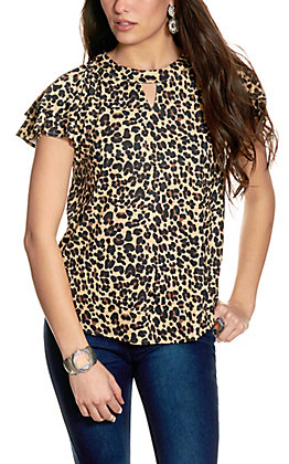 Cowgirl Hardware Women's Leopard Print Notch Collar Flutter Sleeve Top