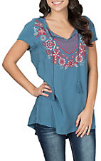 Panhandle Women's Blue Tunic w/ Embroidery and Cap Sleeves Fashion Shirt