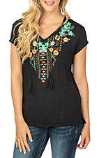 Panhandle Women's Black w/ Floral Embroidery Cap Sleeve Fashion Shirt