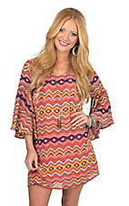 Cowgirl Hardware Women's Orange Multicolor Aztec Print 3/4 Bell Sleeve Dress