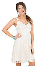 Cowgirl Hardware Women's Ivory Floral Lace A-Line Sleeveless Dress