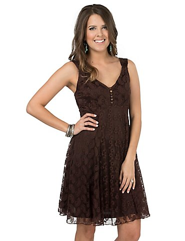 Cowgirl Hardware Women's Prarie Brown Lace Sleeveless Dress