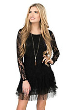 Cowgirl Hardware Women's Black Lace with Ruffled Bottom Long Sleeve Dress