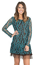 Cowgirl Hardware Brown and Turquoise Lace with Ruffled Bottom Hem Long Sleeve Dress