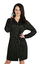 Cowgirl Hardware Women's Black Faux Suede with Black Snaps Long Sleeve Dress