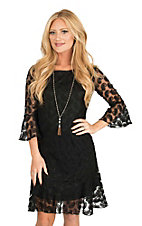 Cowgirl Hardware Women's Black Lace Paisley Print 3/4 Bell Sleeve Dress
