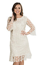 Cowgirl Hardware Women's Cream Lace Paisley Print 3/4 Bell Sleeve Dress