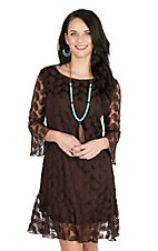 Cowgirl Hardware Women's Brown Lace Paisley Print 3/4 Bell Sleeve Dress
