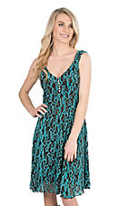 Cowgirl Hardware Women's Brown and Turquoise Lace Sleeveless Dress